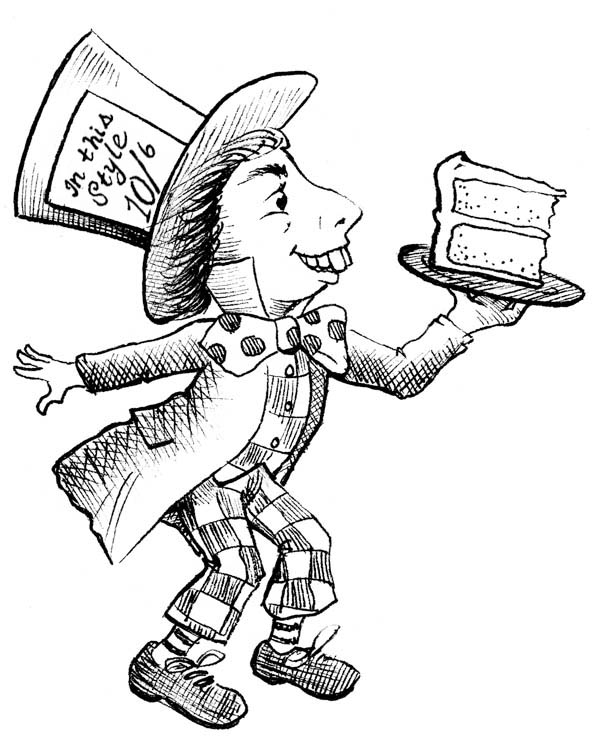 mad hatter with slice of cake coloring page mad hatter with slice - Alice In Wonderland Coloring Pages 2