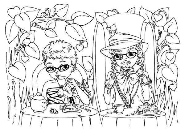 Picture of Mad Hatter and Alice Having Tea Party Coloring Page ...