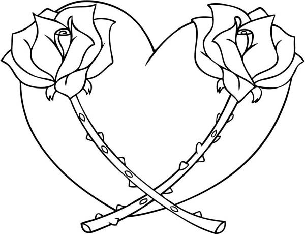 hearts roses hearts and roses full of thorn coloring page hearts and roses - Coloring Pages Hearts Roses