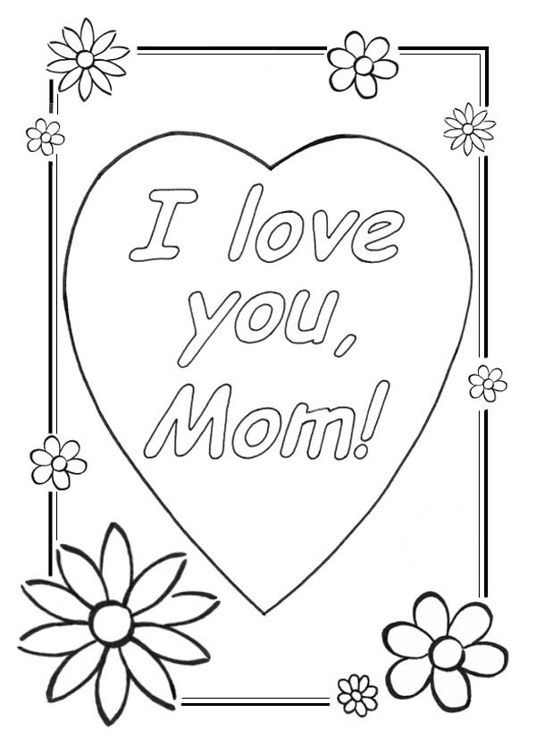 Hearts And Roses Greeting Card Coloring Page