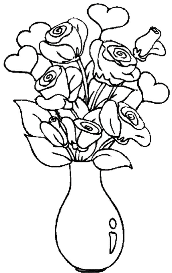 hearts roses hearts and roses in the vase coloring page hearts and roses - Coloring Pages Hearts Roses