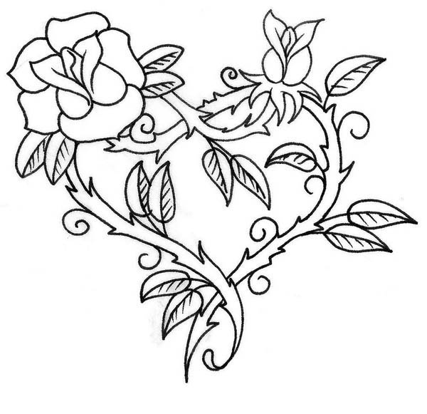 Hearts and Roses with Sharp Thorn Coloring Page: Hearts and Roses ...