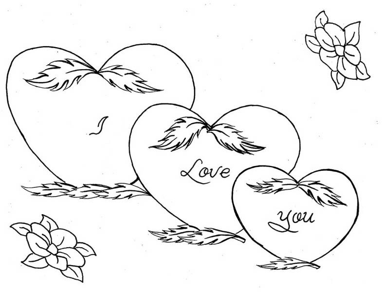 hearts roses three hearts and roses coloring page three hearts and roses coloring - Coloring Pages Hearts Roses