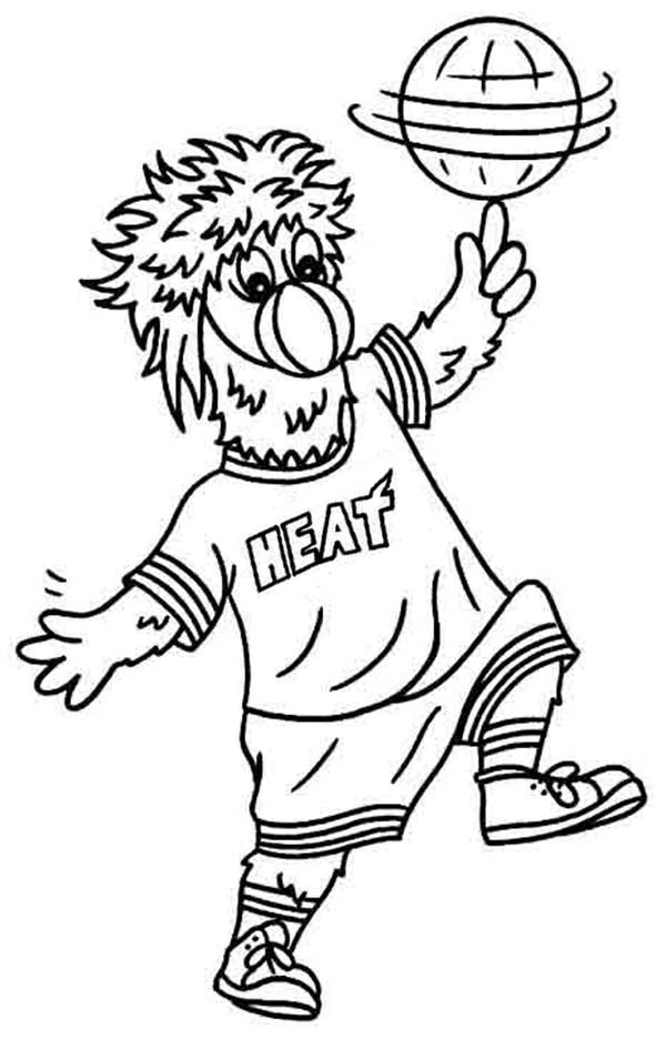 Miami Heat Mascot In NBA Coloring Page