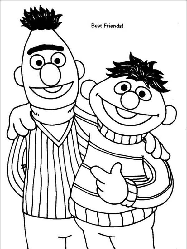Bert And Ernie Are Best Friend In Sesame Street Coloring Page