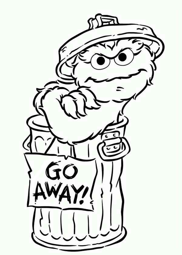 print oscar say go away in sesame street coloring page in full size