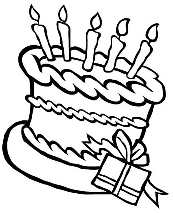 Happy Birthday Cake and a Present Coloring Page Happy Birthday