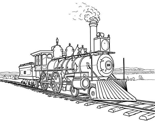 Amazing Steam Train on Railroad Coloring Page: Amazing Steam Train ...