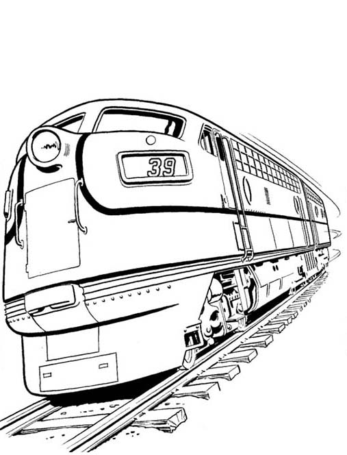 Set Of Diesel Train And On Railroad Coloring Page