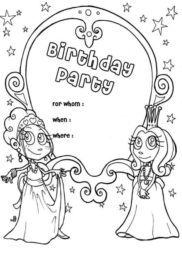 Happy Birthday Party Invitation Coloring Page: Happy Birthday ...