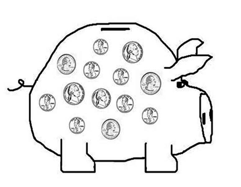 Saving Your Money in Piggy Bank Coloring Page: Saving Your Money ...