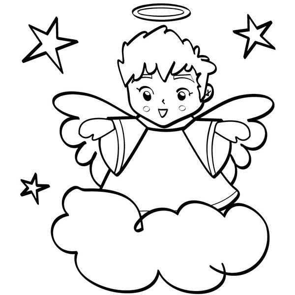 Cute Angels Boy Wiht Halo Coloring Page