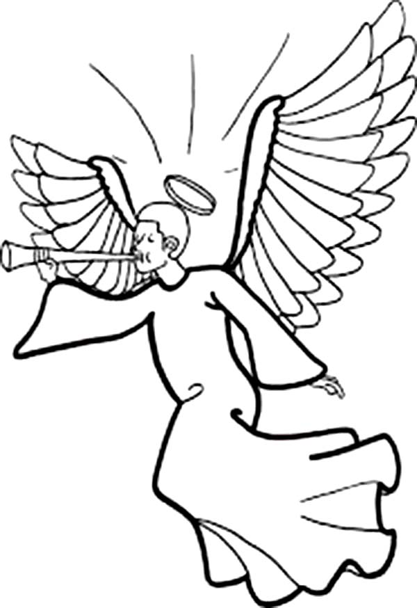 Winged Angels with Halo Blowing Trumpet Coloring Page: Winged Angels ...