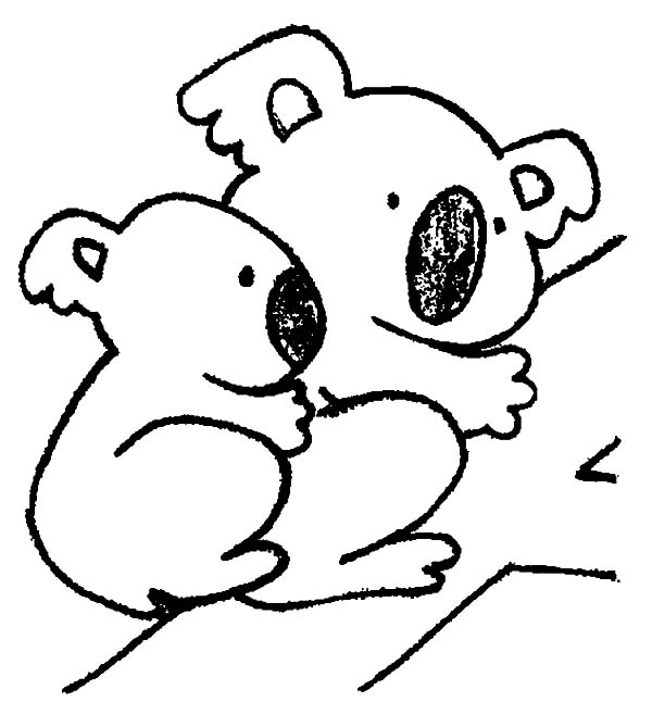Koala Bear Mom With Her Baby Coloring Page
