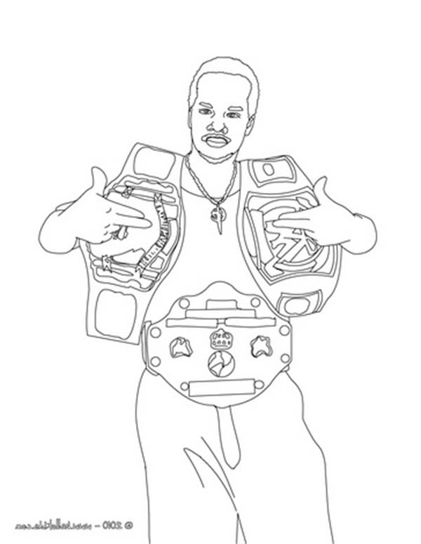 Wrestler With Two Wrestling Chion Belt Coloring Page Wrestler Cena Coloring Pages