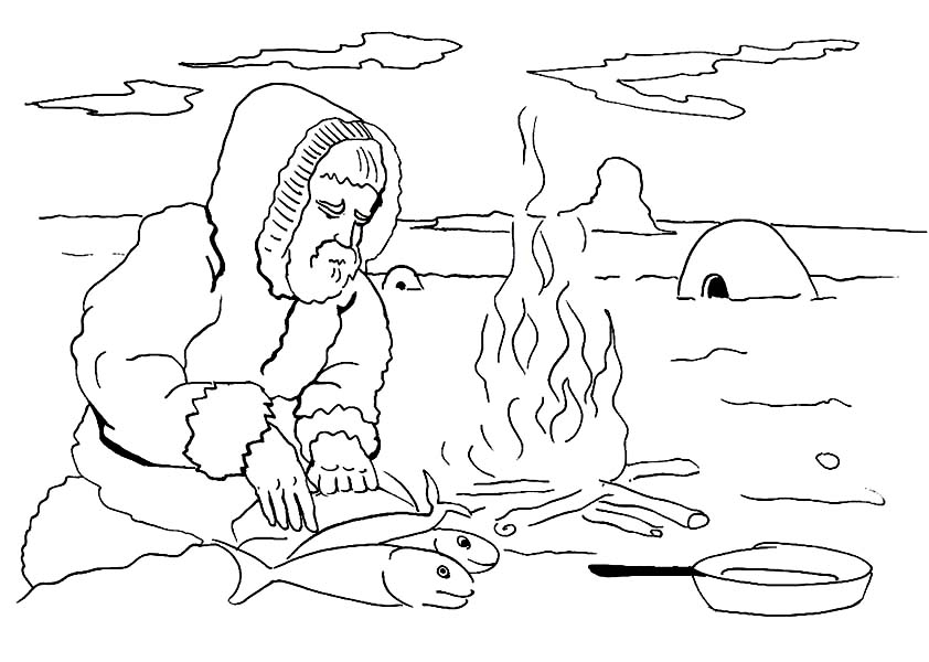 Eskimo Cooking Fish Coloring Page