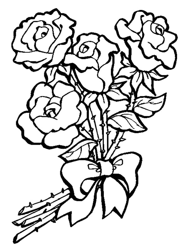 Flower Bouquet Of Roses Coloring Page PageFull