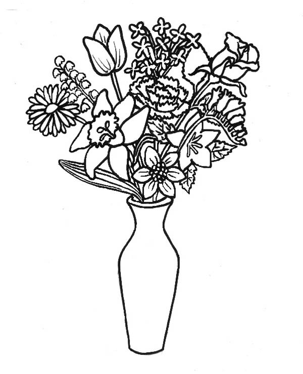 Flower Bouquet Lovely In Thin Vase Coloring Page
