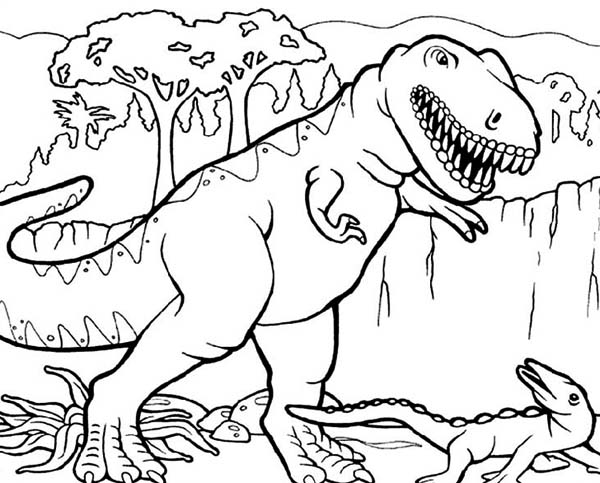 T-Rex, T Rex Hunting for Smaller Dinosaurus Coloring Page: T Rex Hunting