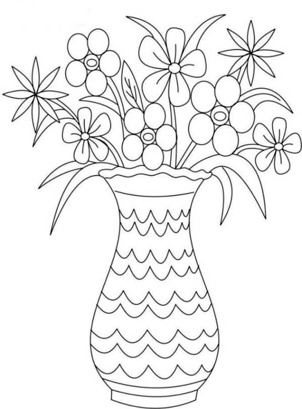 Flower Bouquet Picture Of In Vase Coloring Page