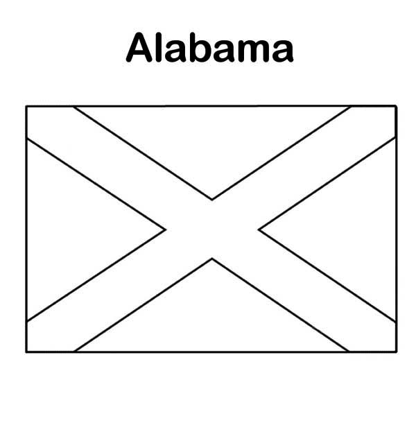 State Flag of Alabama Coloring Page: State Flag of Alabama Coloring ...