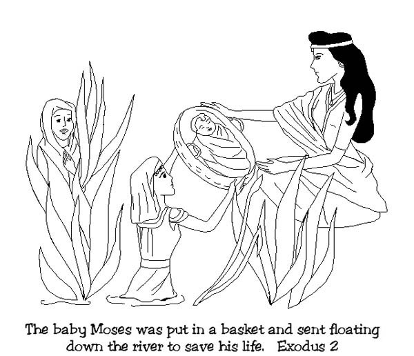 Moses, Baby Moses was Found After Floating Down on Nile River Coloring Page: Baby