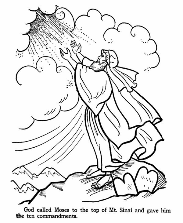 moses moses on the top of mount sinai receive the ten commandments coloring page - Ten Commandments Coloring Pages
