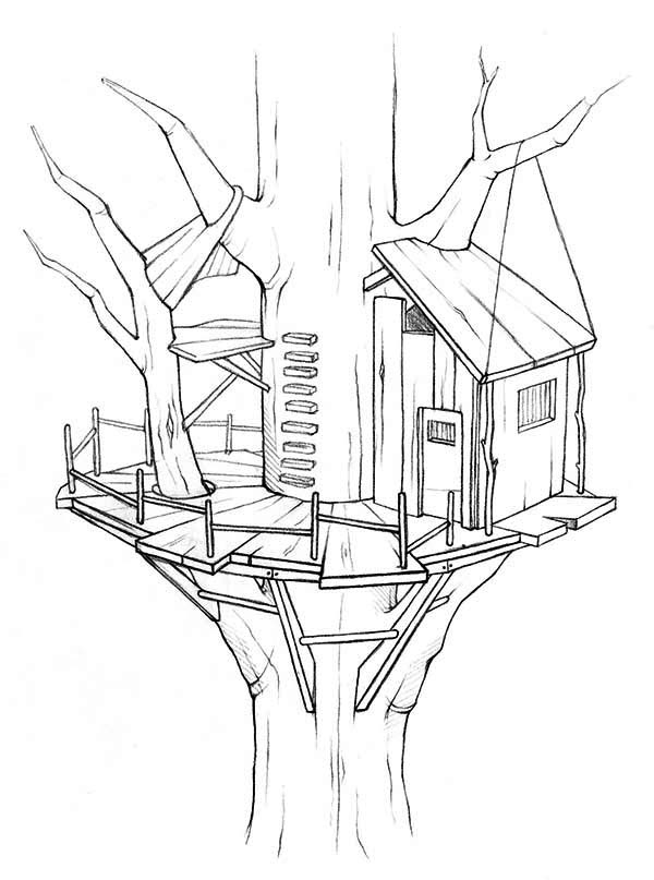 Awesome Treehouse Coloring Page: Awesome Treehouse Coloring Page ...