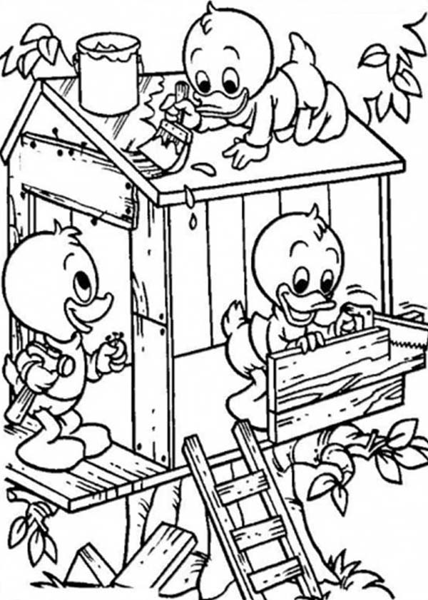 Louie and Huey and Dewey Build a Treehouse Coloring Page Louie