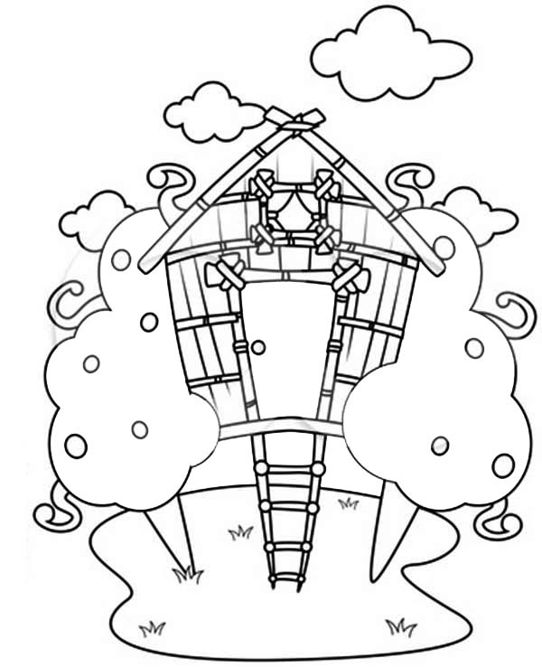print treehouse drawing coloring page in full size