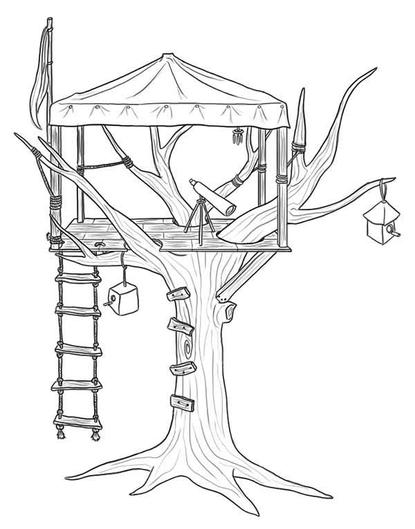 Treehouse for Observer Coloring Page Treehouse for Observer