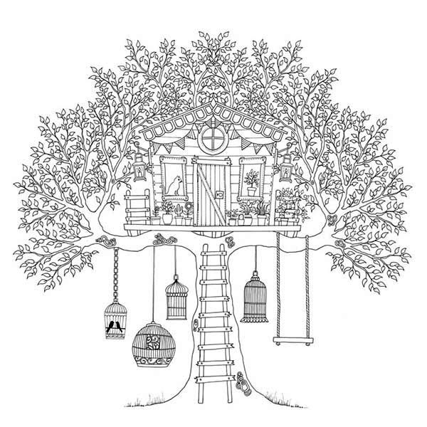 Treehouse of Birds Coloring Page Treehouse of Birds Coloring Page