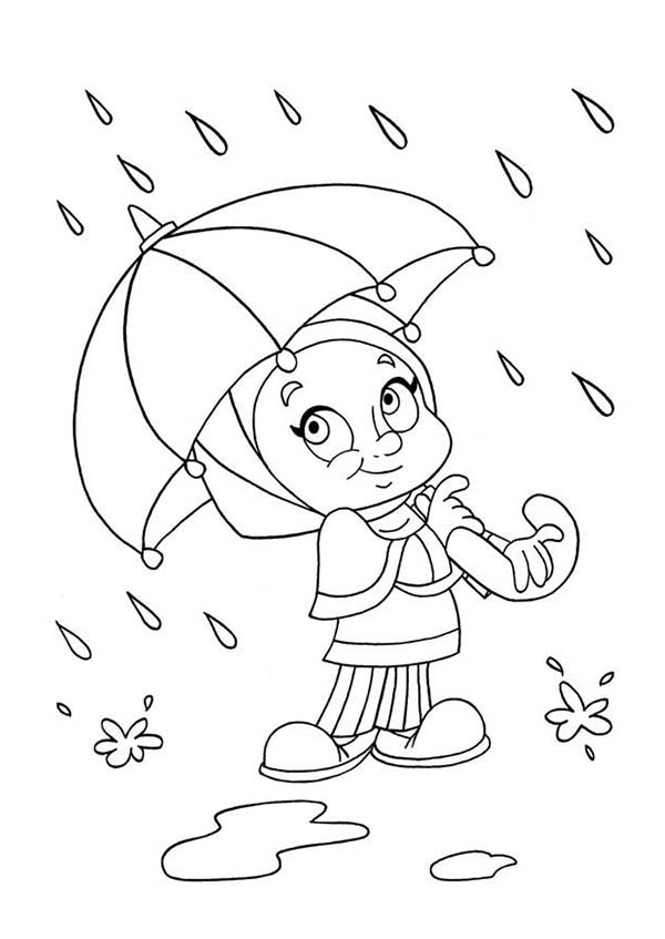 print a little girl avoiding raindrop with umbrella coloring page in full size