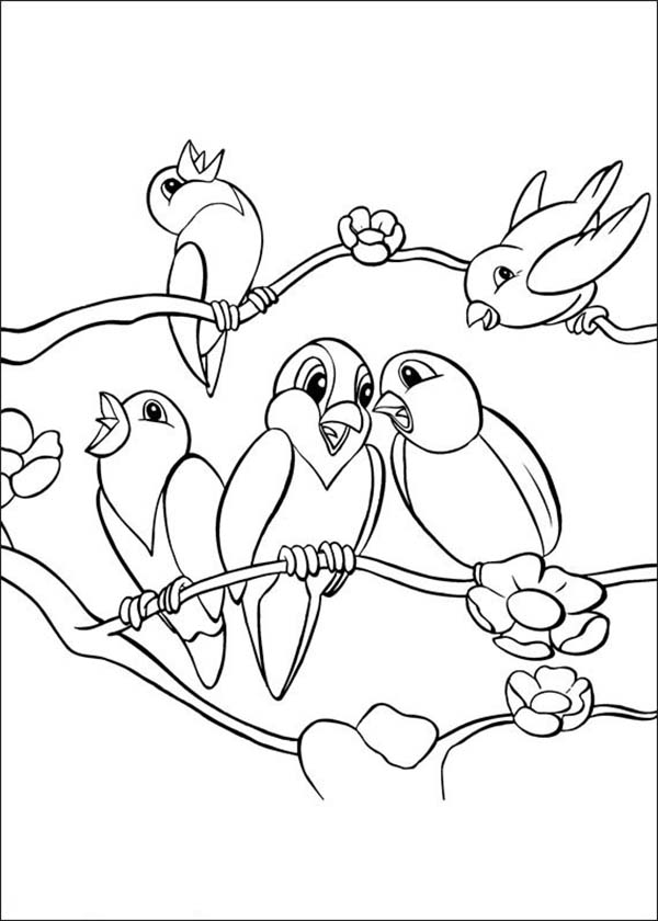 School Of Bird Singing Together Coloring Page
