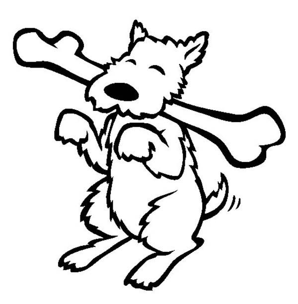 Dogs Happy Dog Eating Long Bone Coloring Page
