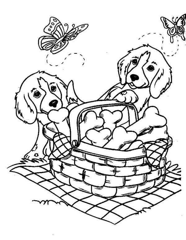 Dogs Two Cute Dog And Butterflies With A Basket Of Bone Biscuits Coloring Page