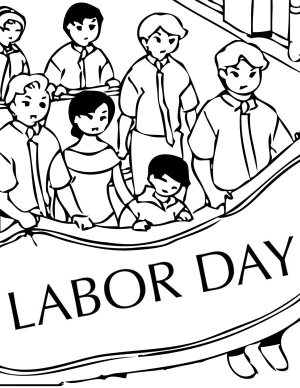 Peaceful Demonstration on Labor Day Coloring Page: Peaceful ...