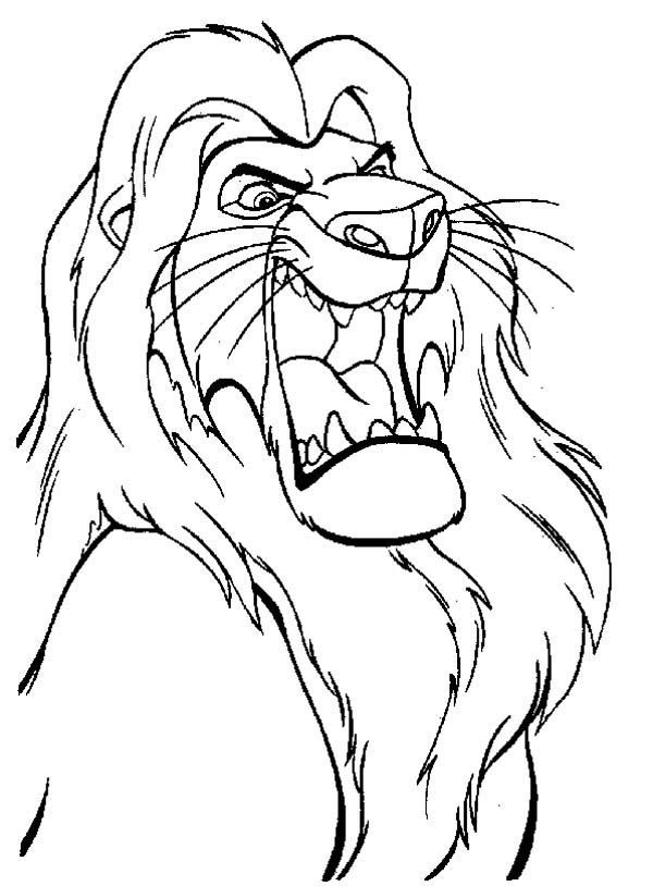Lion the lion king mufasa is angry coloring page the lion king mufasa is