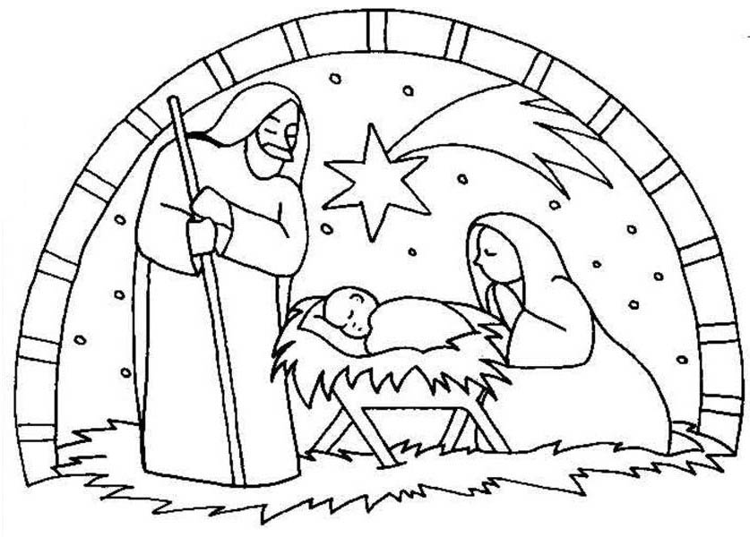 Print Nativity The Birth Of Jesus Scene Coloring Page In Full Size