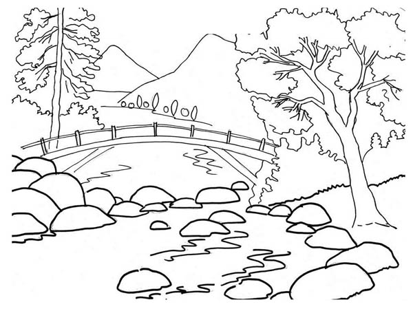 Beautiful River Bank Landscape of Nature Coloring Page: Beautiful ...