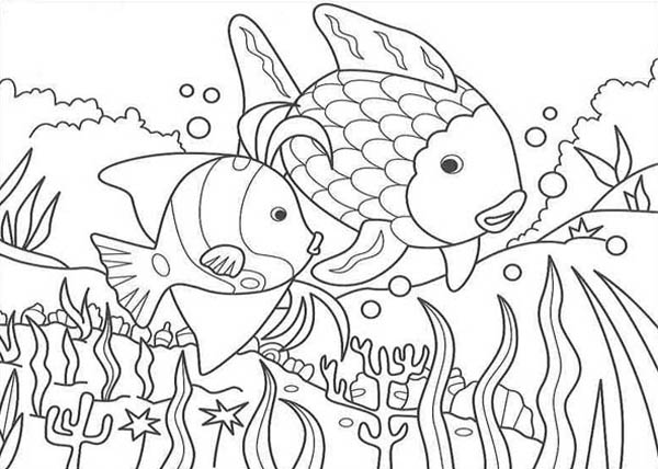 Fish In The Lake Of Nature Coloring Page