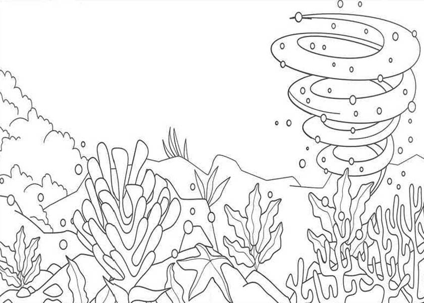 Nature Under The Sea View Of Coloring Page
