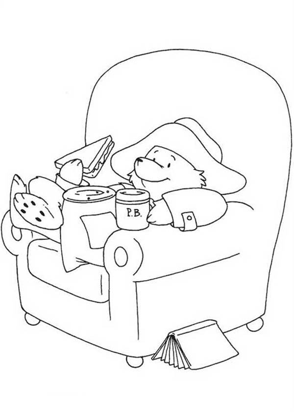 Paddington Bear Eating Sandwich Coloring Page