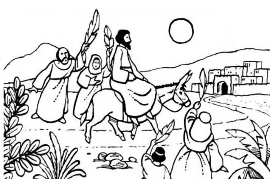 Jesus Rode a Donkey to Jerusalem in Palm Sunday Coloring Page ...