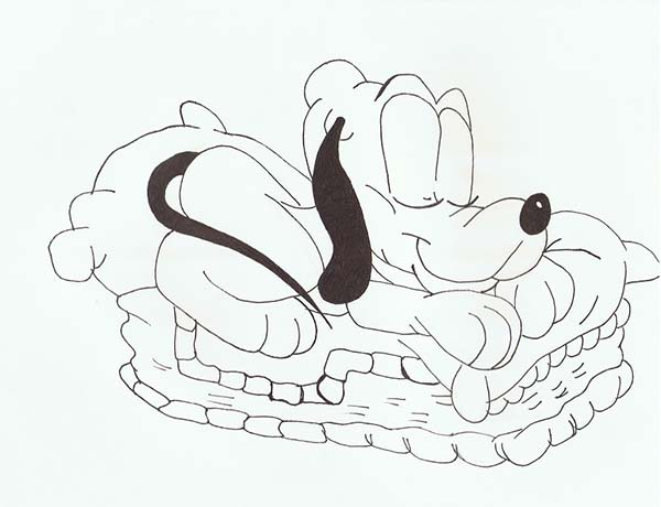 Baby Pluto Sleeping Peacefully Coloring Page