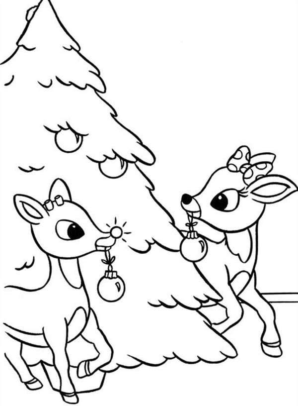 rudolph rudolph and clarice decorated christmas tree coloring page rudolph and clarice decorated christmas