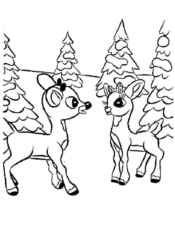 Rudolph And Clarice Talking Coloring Page