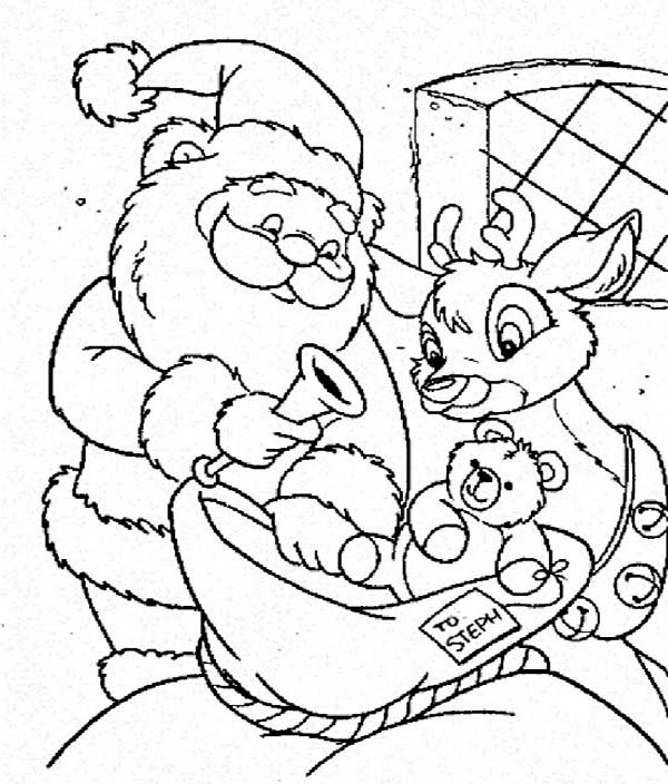 Santa Claus and Rudolph Picking Christmas Present for Kids