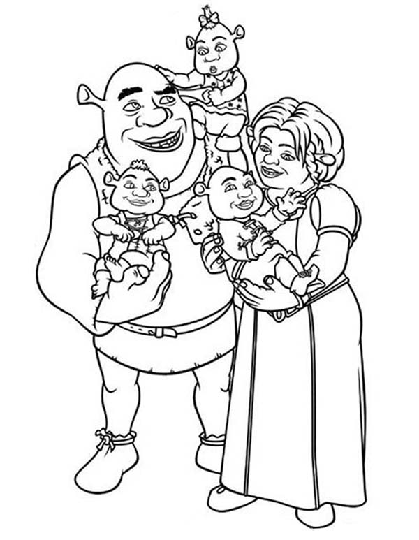 Shrek and Princess Fione with Their Babies Coloring Page: Shrek and ...