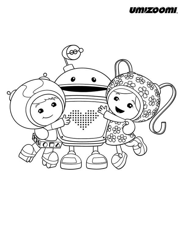 Geo and Milli Hug Bot in Team Umizoomi Coloring Page Geo and